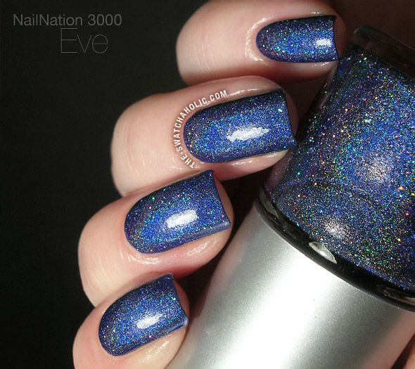 NailNation 3000 Eve swatch 403 blue linear holo holographic with ...