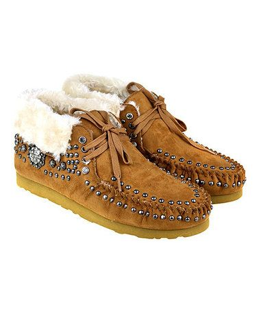 Love this Brown Floral Studded Suede Moccasin on #zulily! #zulilyfinds