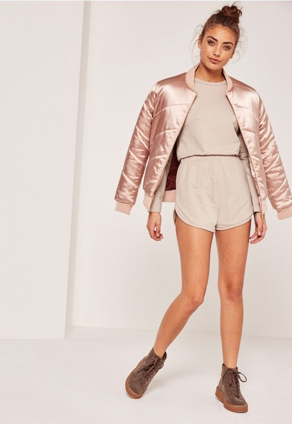 Missguided - Jersey Curved Hem Short Playsuit Nude