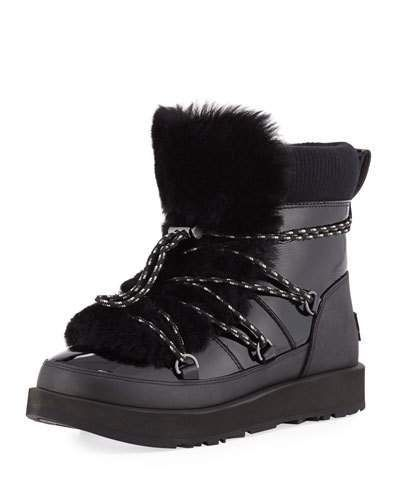 fbee93594d8 Highland Waterproof Patent/Shearling Lace-Up Boots | Products ...