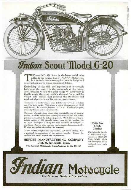 Vintage Advert For Indian Motorcycles 1920 Indian Motorcycle Vintage Indian Motorcycles Indian Scout