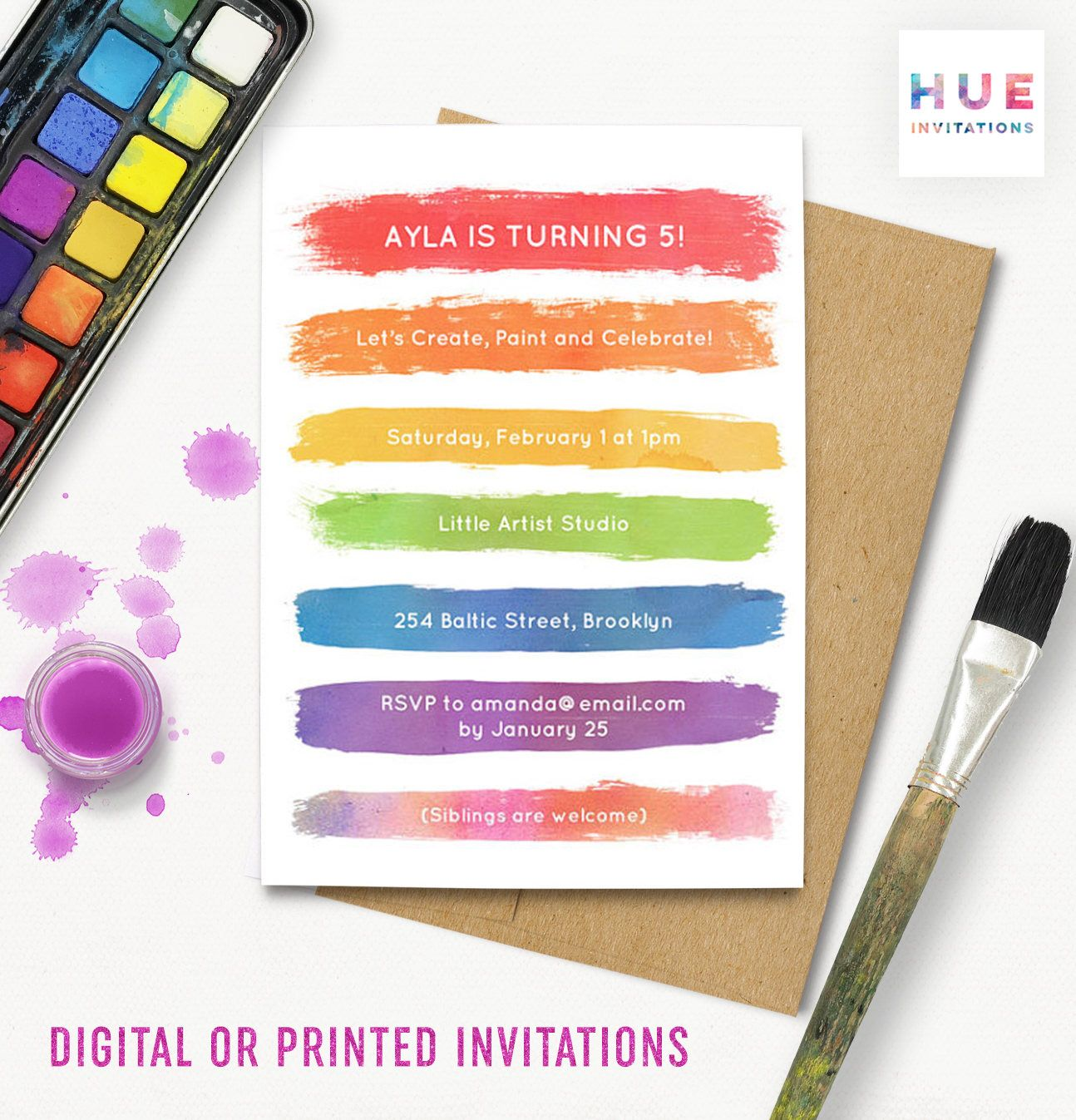 rainbow paint party invitation art party brushstrokes birthday