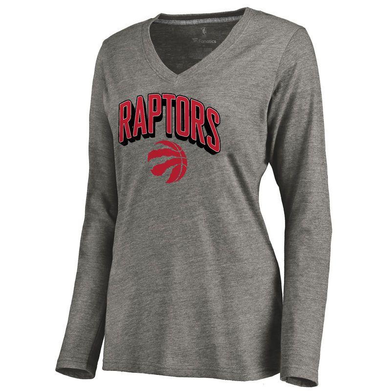 Toronto Raptors Women's ThreeDee Tri-Blend V-Neck Long Sleeve T-Shirt - Ash