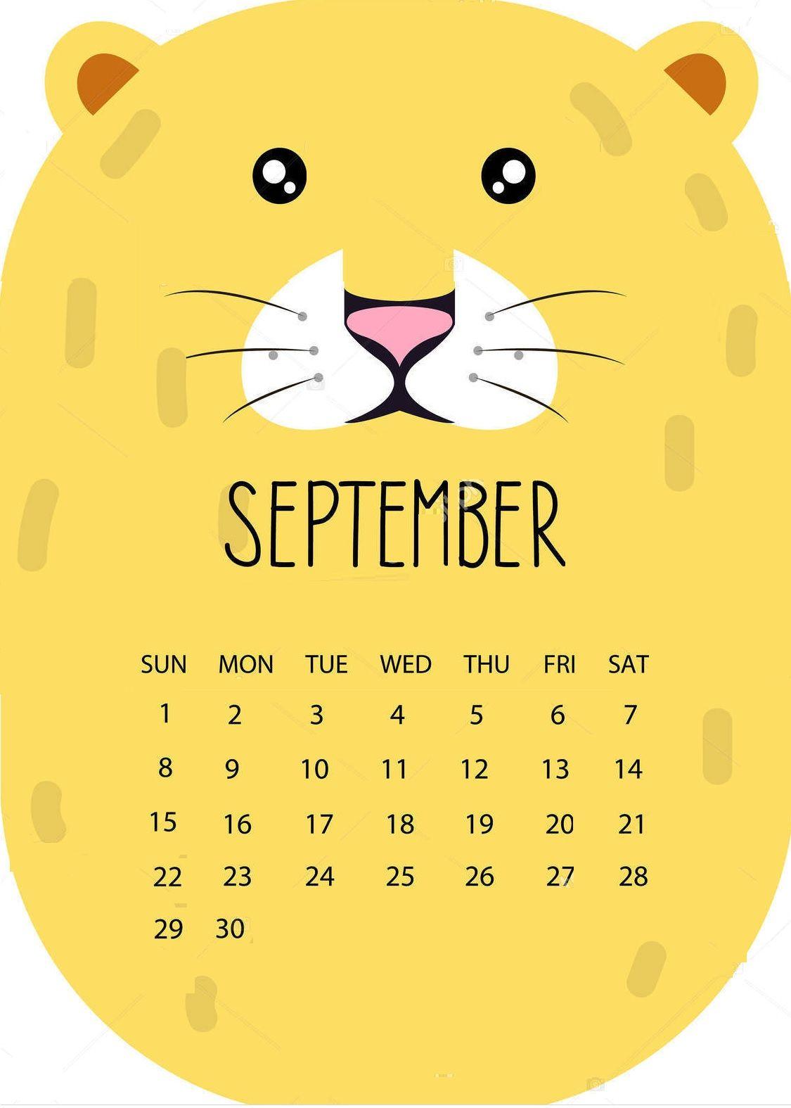 Cute September 2019 Calendar Download