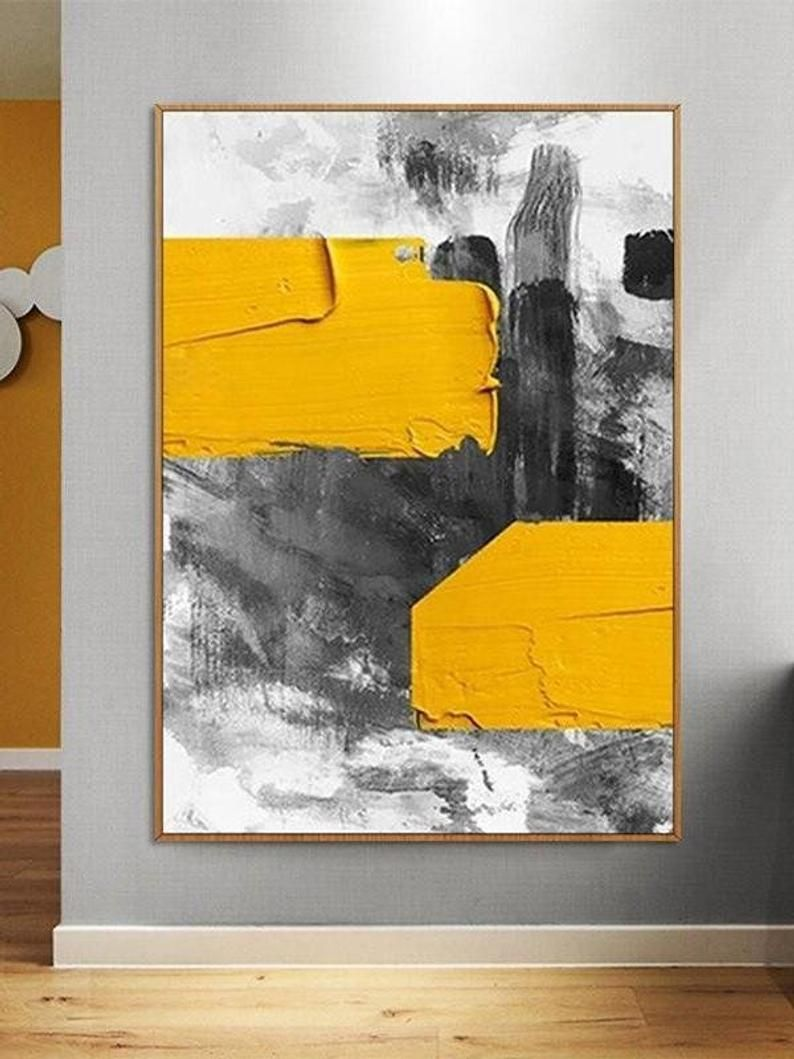 Photo of Abstract Canvas Painting | Large Abstract Painting | Contemporary Office Wall Art | Yellow Palette