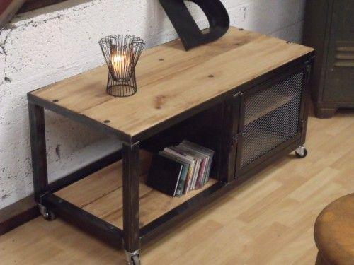 meuble tv loft - mélange bois & métal | loft and tvs - Meuble Design Metal