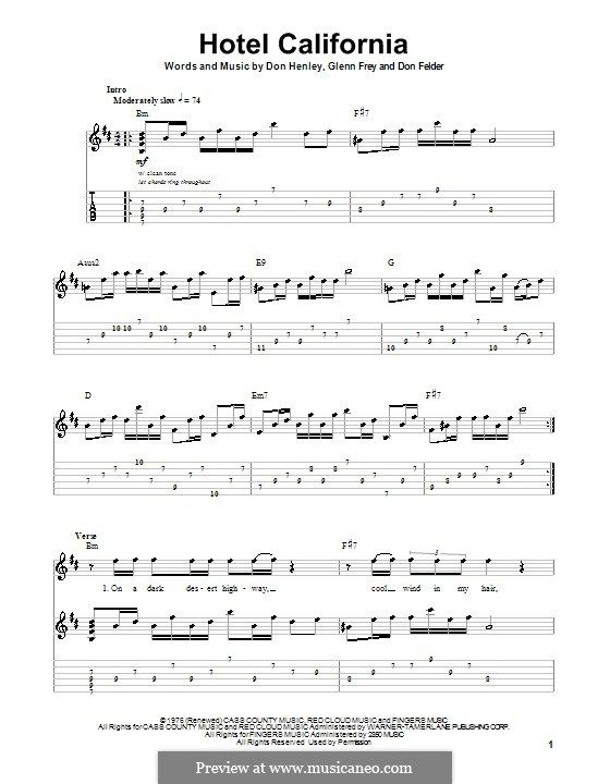 Hotel California The Eagles For Guitar With Tab By Don Felder