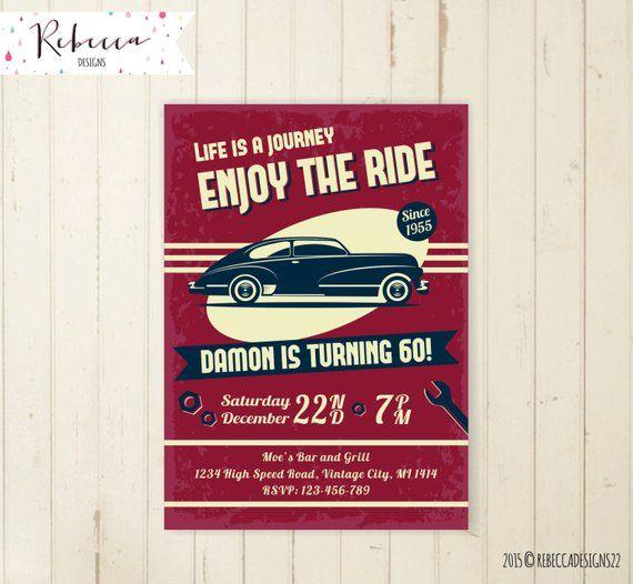 Car Birthday Invitation Vintage 21st 30th 40th 50th Bi
