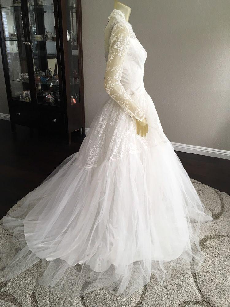 Vintage 1950 S Vene New York Bridal Gown Ballgown Wedding Dresses For Sale Bridal Gowns Long Sleeve Wedding Dress Lace