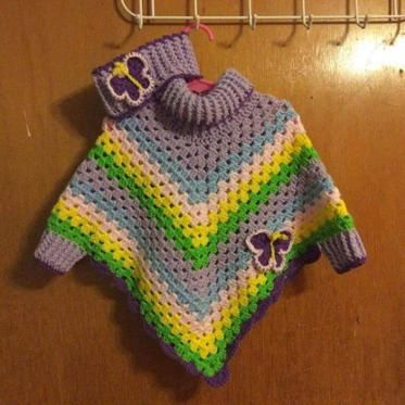 Child's Cowl Neck Poncho with Cuffs | yarn patterns