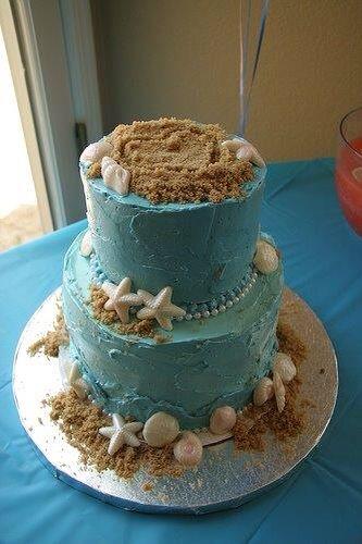 My beach theme bridal shower cake