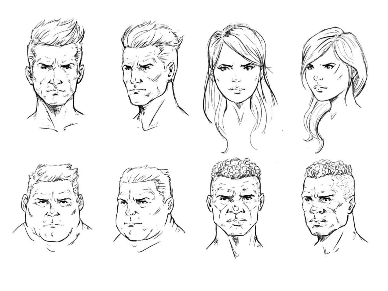 How To Draw A Face Drawing The Male And Female Head Front And 3 4 Female Face Drawing Face Drawing Male Face Drawing