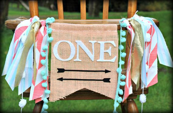 Aztec birthday highchair banner, teepee,wild one, pow wow, Tribal theme for boy or girl, Peach and Mint, arrows,archery,garland,photo prop