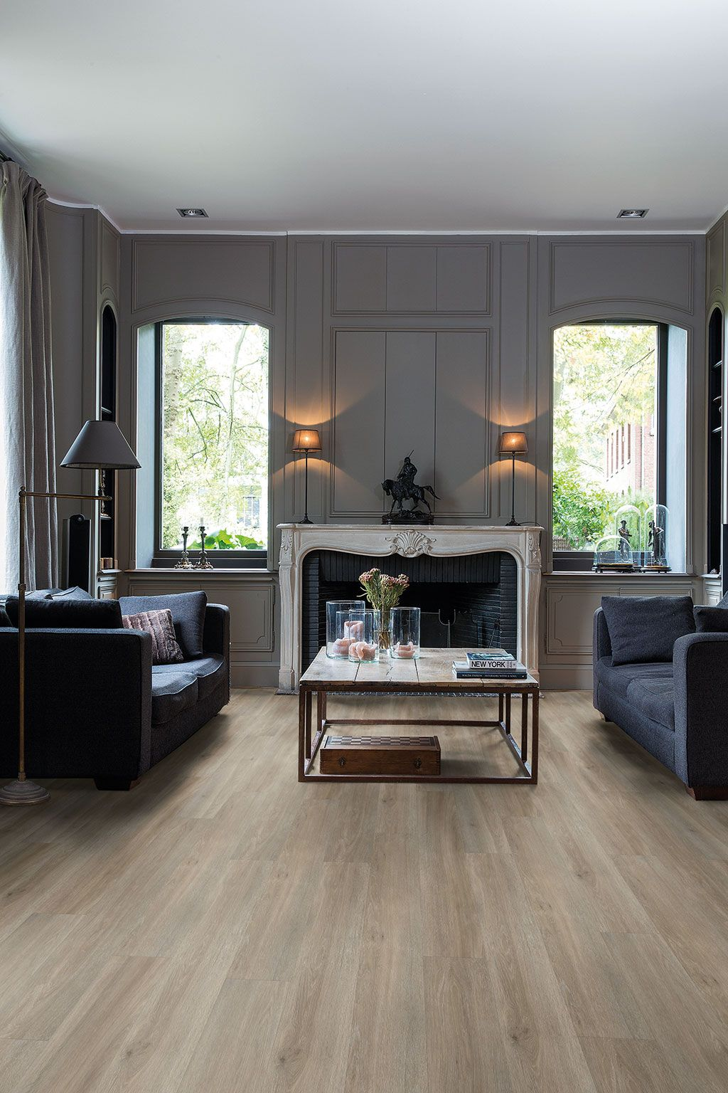 How to choose the ideal living room floor Grey vinyl