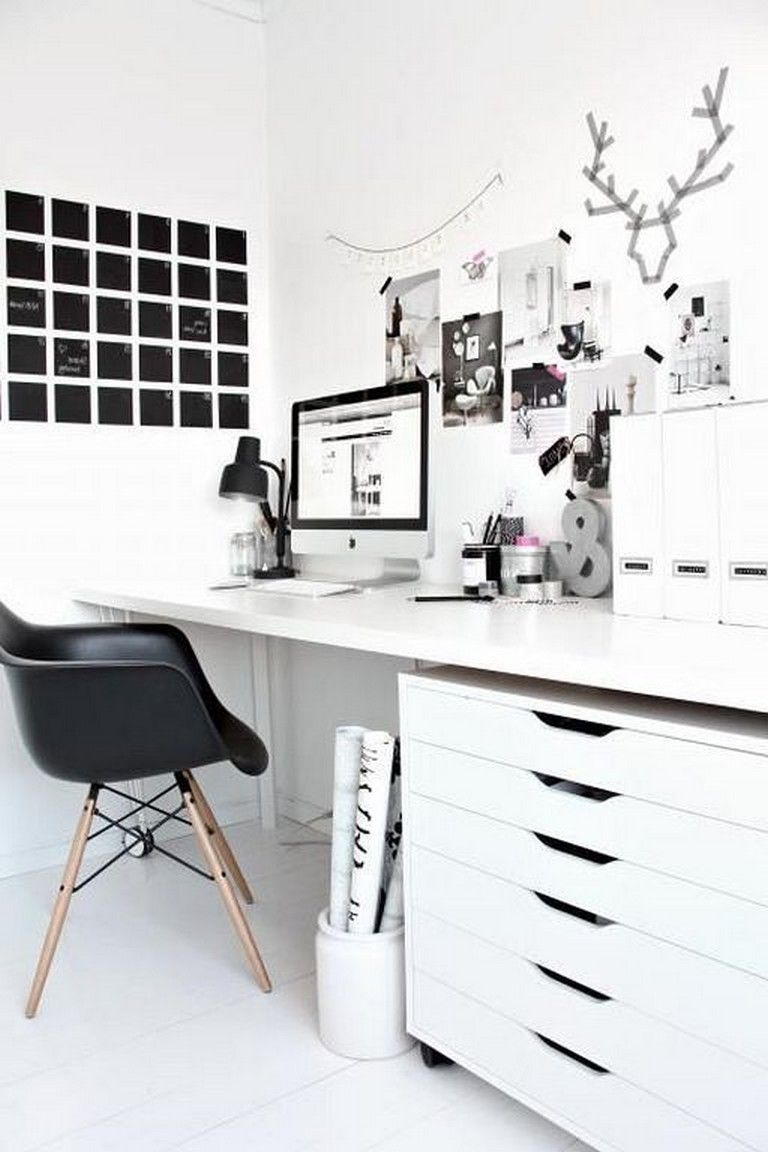 23 Awesome Minimalist Black White Home Office Decorating Ideas Home Office Cabinets Home Office Decor Small Office Decor