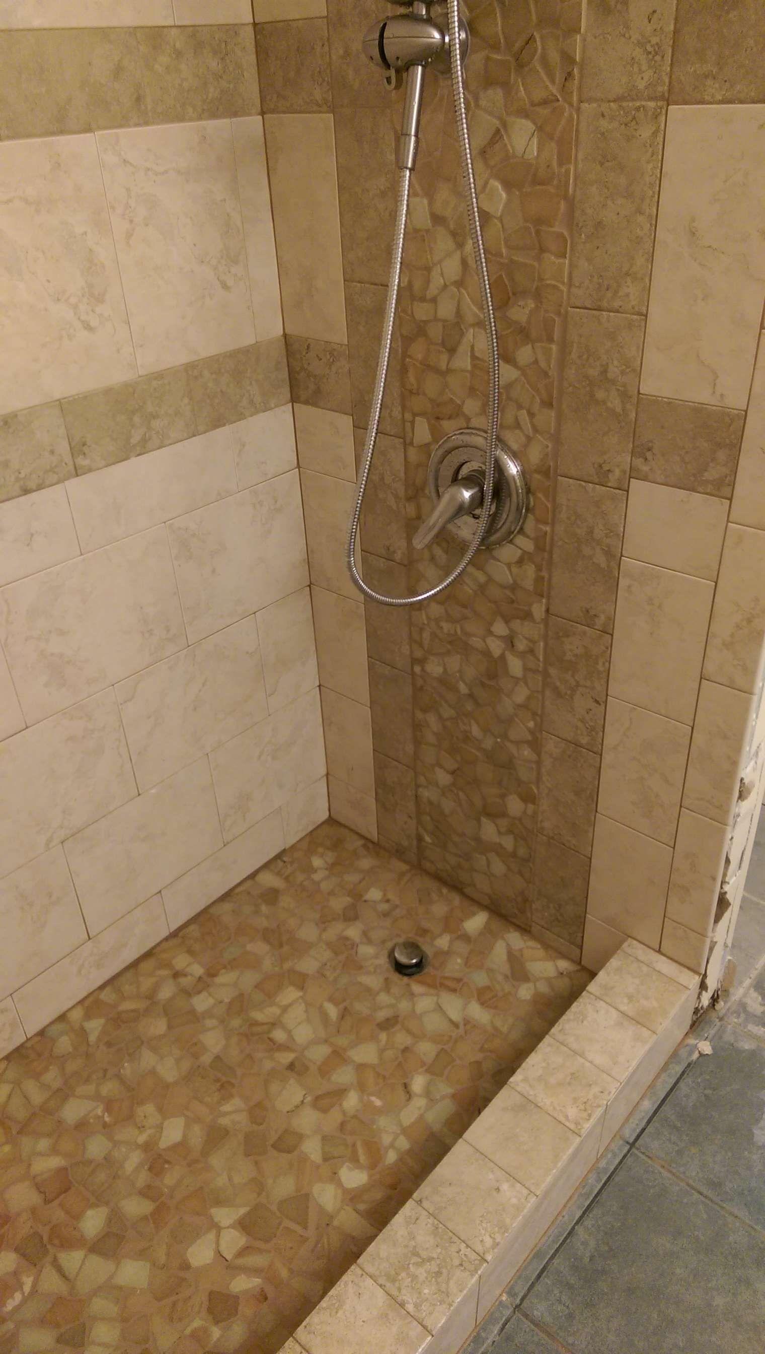 Large Sandstone Mosaic Tile Shower Https Www Pebbletile