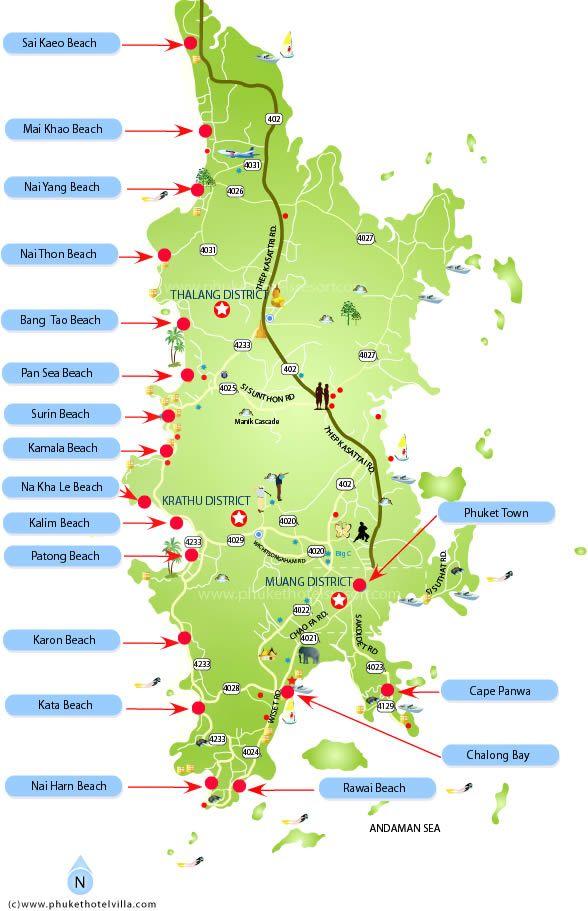 Phuket Beaches Location Map Location Map of Phuket Island Beaches