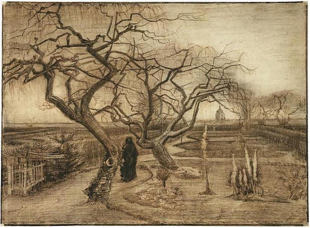 iamjapanese: Vincent van Gogh(1853–1890) Winter Garden 1884 Pencil ...