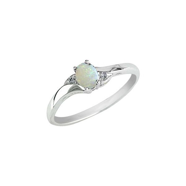 Opal Ring With Diamonds In 10k White Gold My Jewelry Box 129 Liked On Polyvore White Gold Opal Ring Jewelry White Gold Jewelry