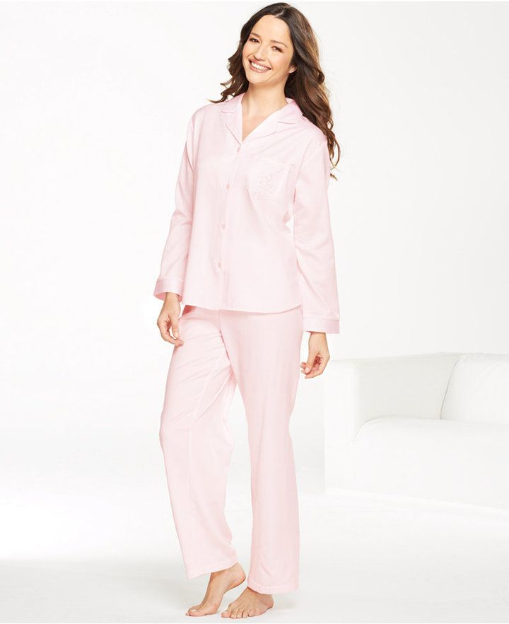 d21a7f6290 Miss Elaine Petite Brushed Back Satin Top and Pajama Pants Set on shopstyle .co.uk