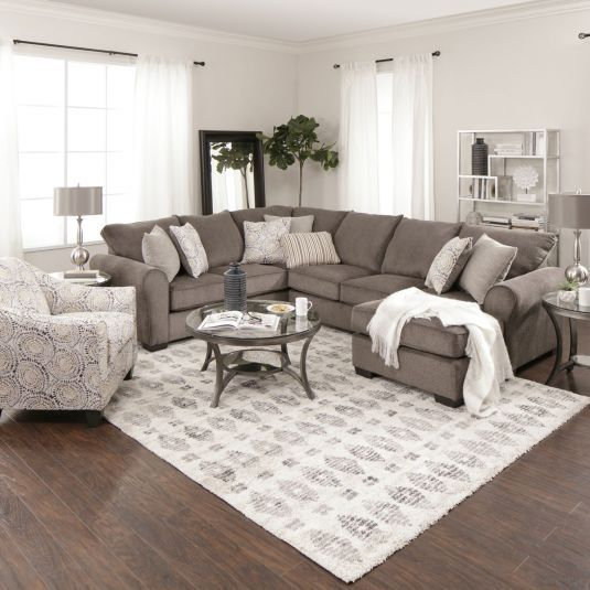 taylor 2 piece sectional with chaise in ash basement makeover jerome furniture room decor. Black Bedroom Furniture Sets. Home Design Ideas