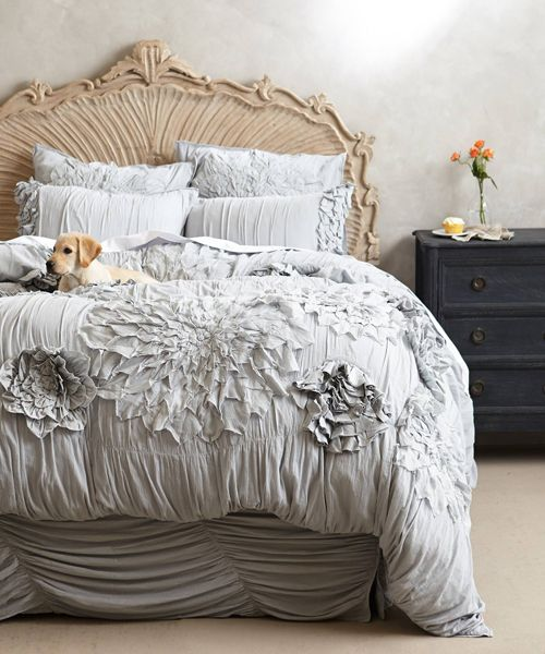Anthropologie Bedding Ruffled Duvet Cover Puppies