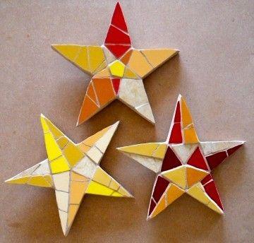 Just Mosaics   Mosaic Christmas stars - set of three   Made by Hands of Britain