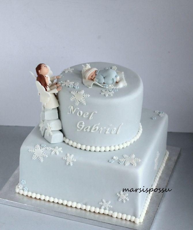 Marsispossu: Talvinen ristiäiskakku, Christening cake for baby boy