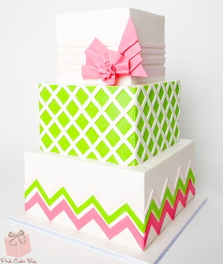 Geometric Inspired Cake Custom Baby Shower Cakes