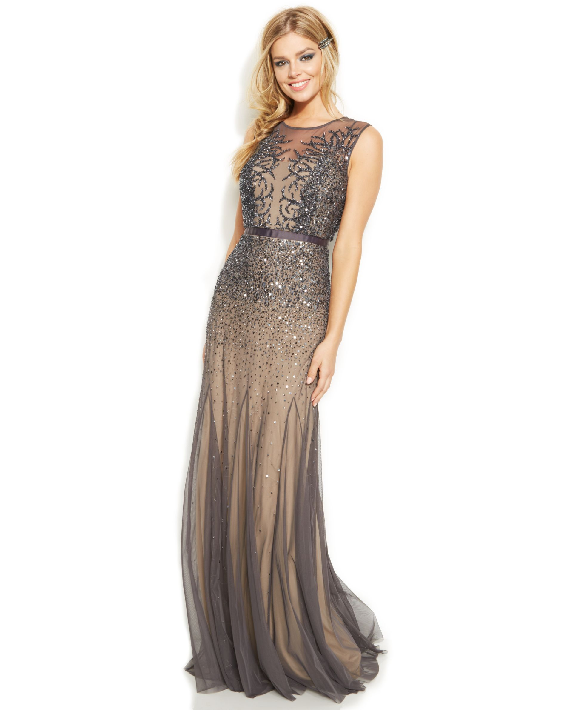 91e90652b Adrianna Papell Sleeveless Beaded Illusion Gown - Juniors Shop All Prom  Dresses - Macy s