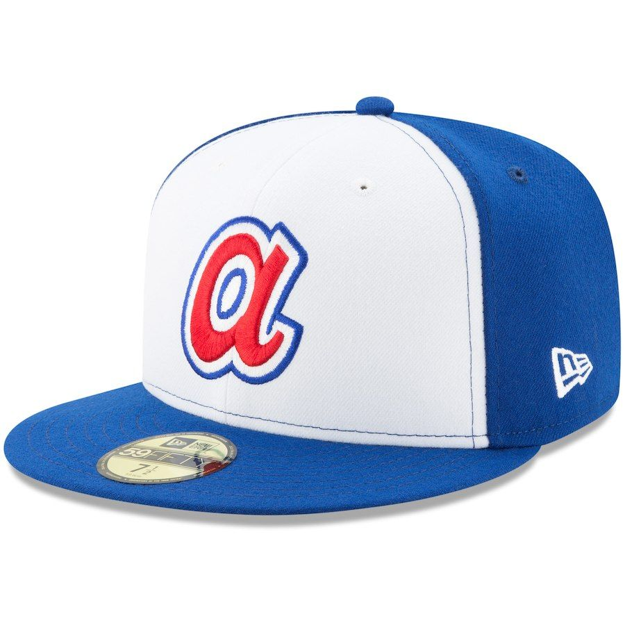 fbe44b13483b4 Men s Atlanta Braves New Era White Royal Turn Back the Clock 59FIFTY Fitted  Hat