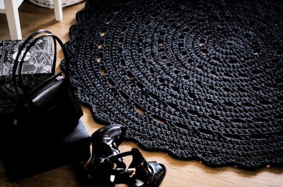 Charcoal Gray Crochet Rug, Gray Rug, Floor Mat, Bed Room Floor Mat ...