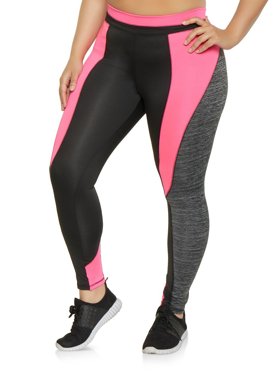 2694ab7a0ab Plus Size Marled Color Block Active Leggings - Multi - Size 3X in ...