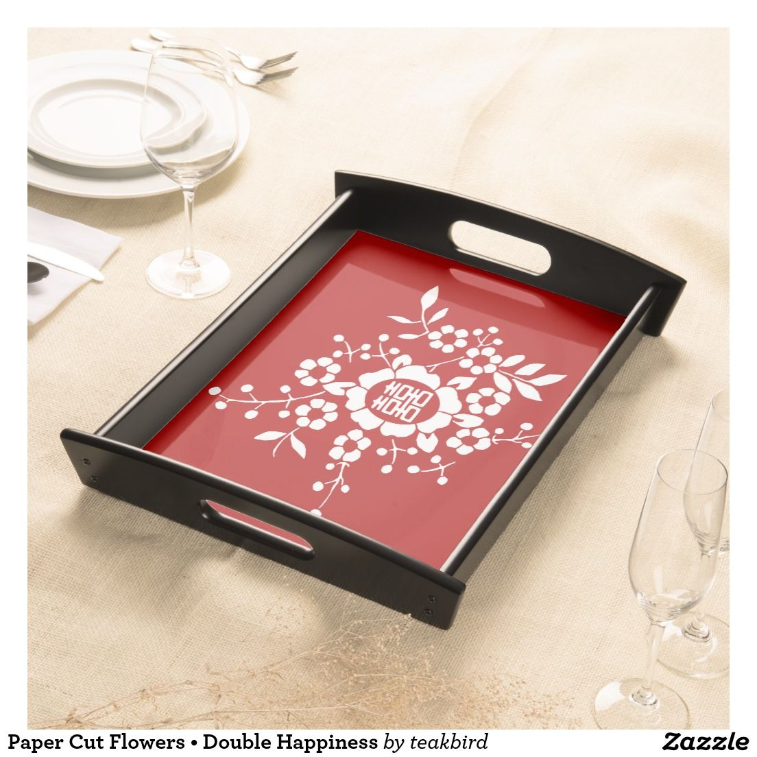 Paper Cut Flowers • Double Happiness Serving Tray