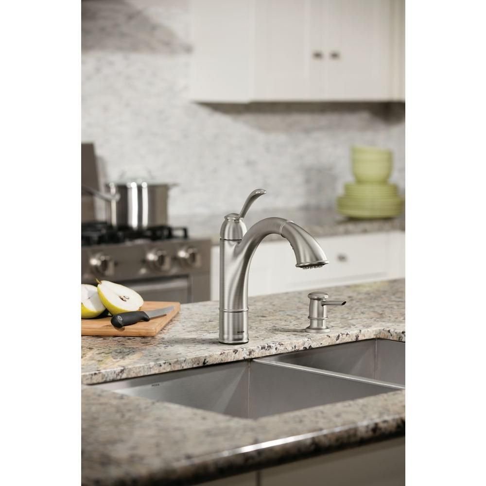 MOEN Walden Single-Handle Pull-Out Sprayer Kitchen Faucet with ...