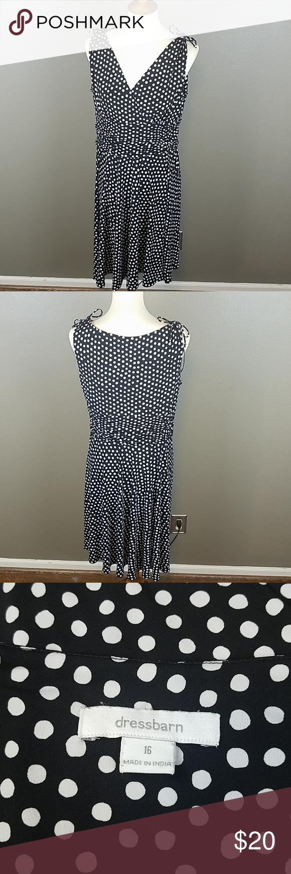 Dressbarn Black White Polka Dots Stretchy Dress Stretchy Dress Dressbarn Stretchy [ 1740 x 580 Pixel ]