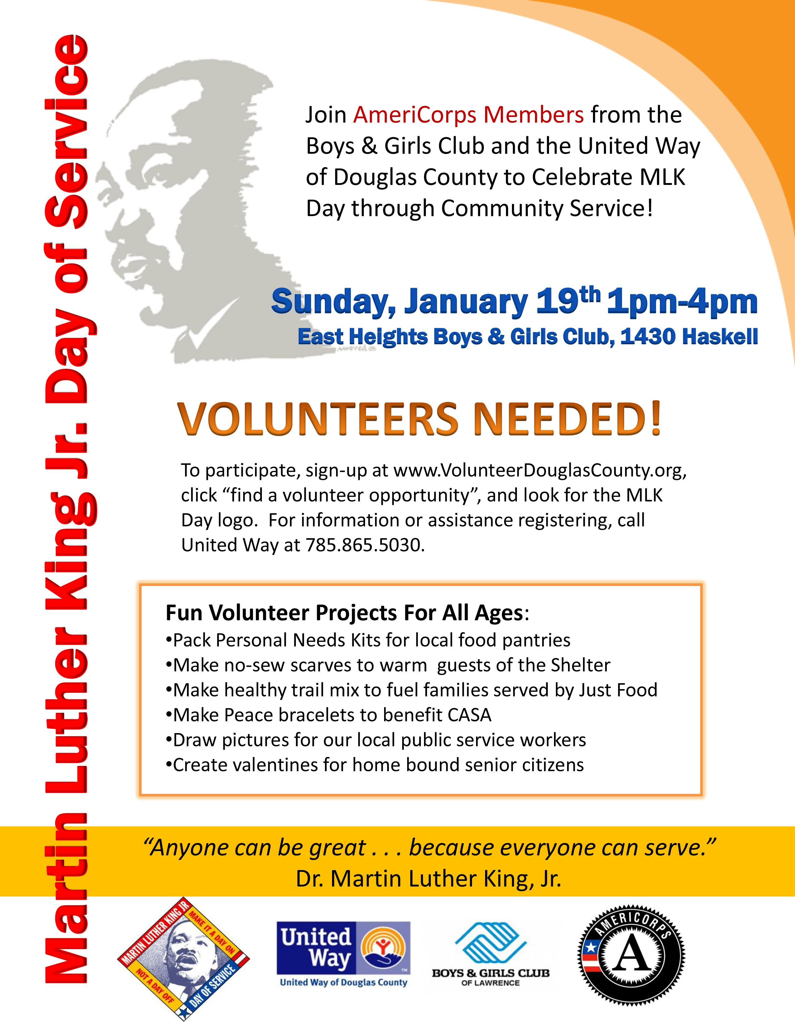UPDATED MLK Day of Service flyer with volunteer