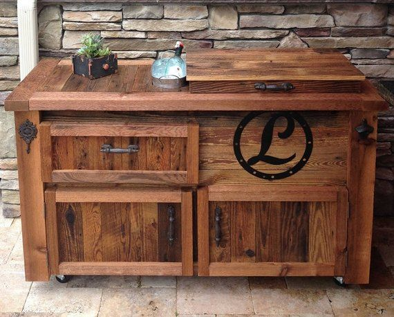 Reclaimed Barnwood Bar Cart Cooler Cabinet Wine Console Etsy Tables