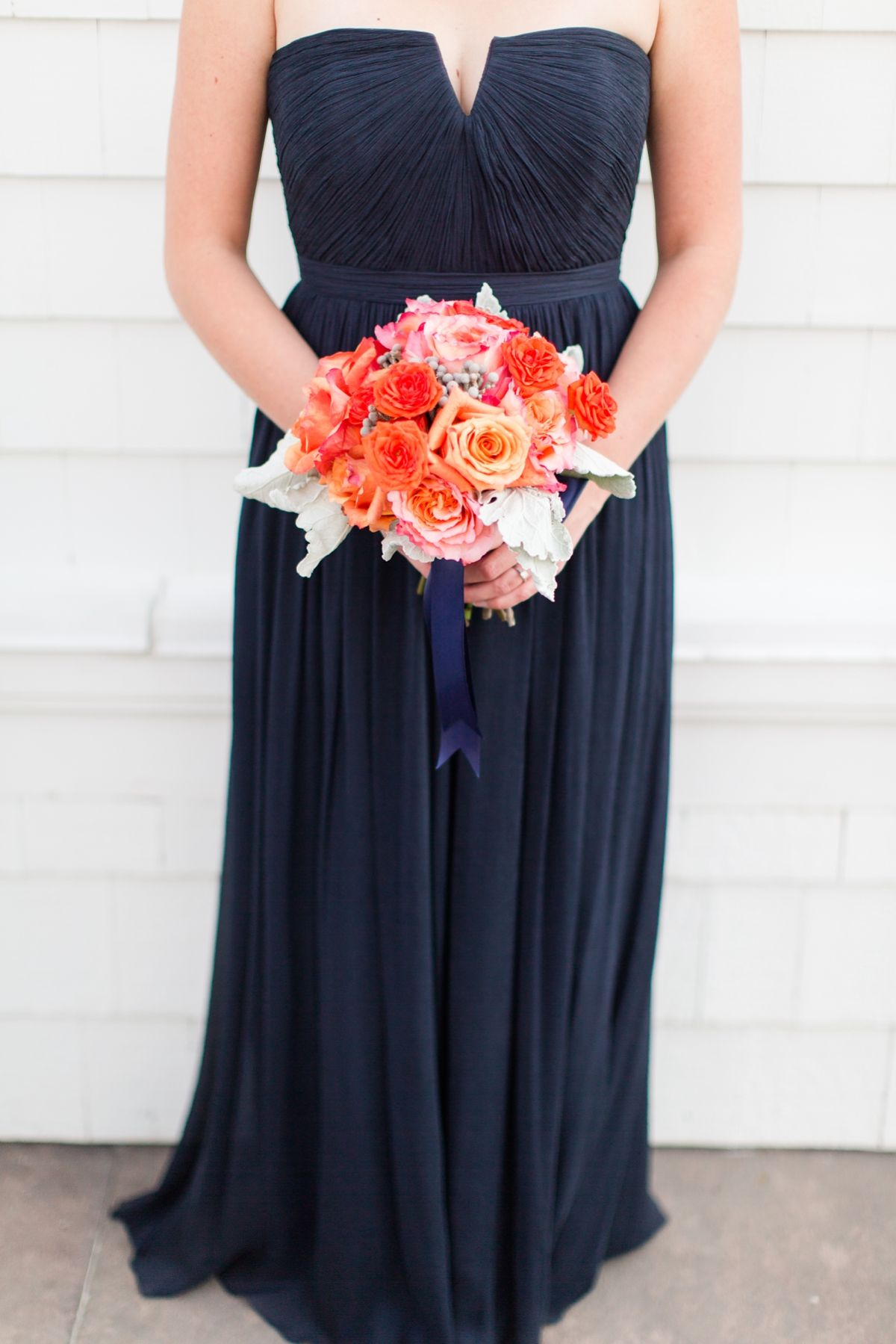 Long navy bridesmaid dress with coral accents trump national long navy bridesmaid dress with coral accents trump national wedding in washington dc photos by ombrellifo Choice Image