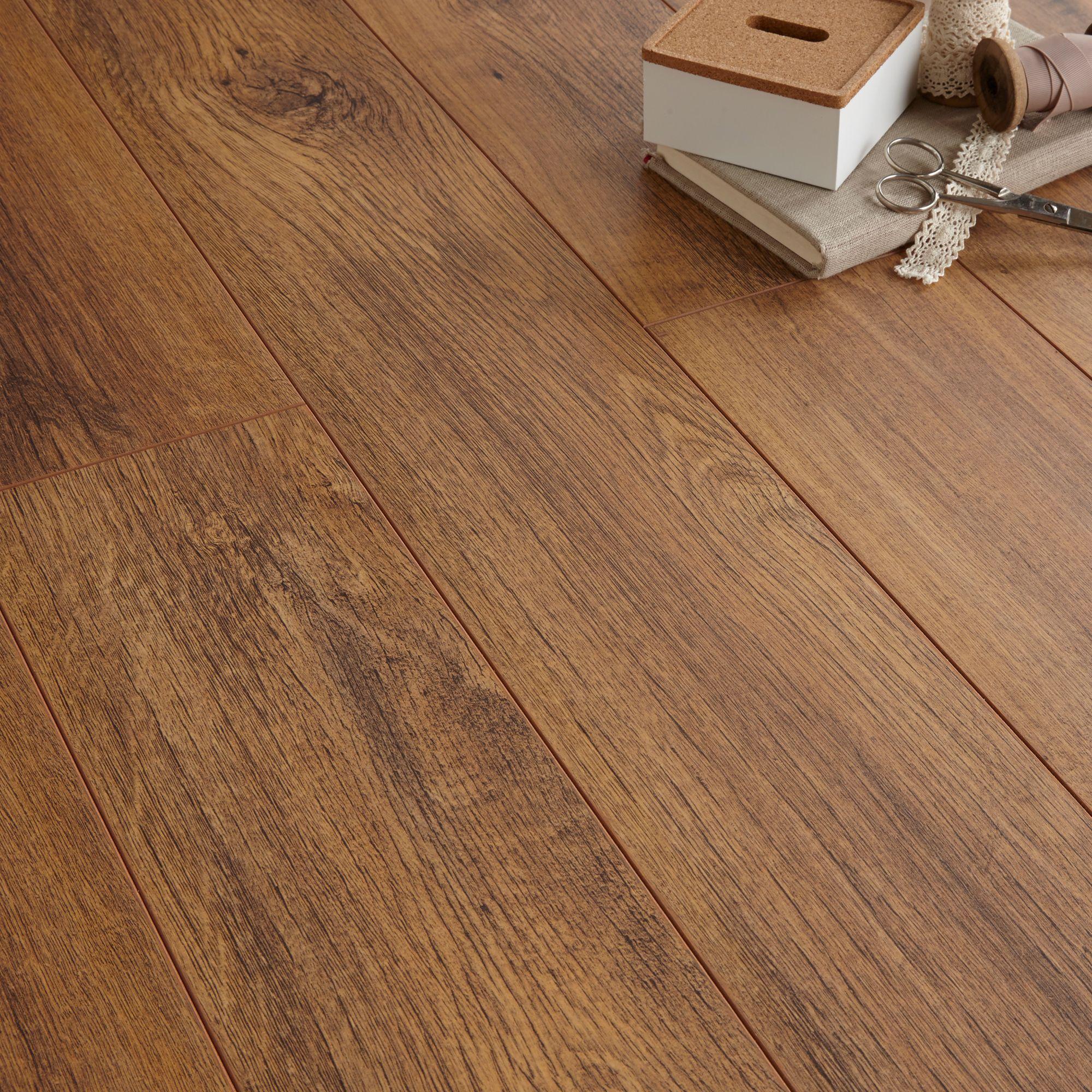 B Q Dolce High Gloss Walnut Effect Laminate Flooring