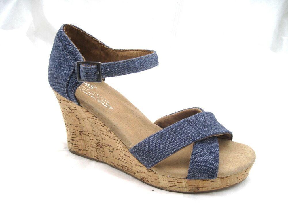 Toms womens ladies navy blue denim jean