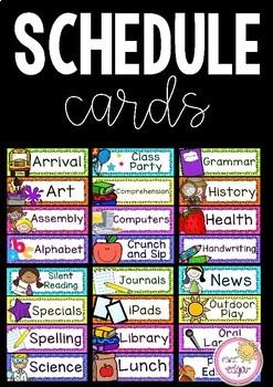 Classroom Schedule Cards Editable Classroom Schedule Classroom Schedule Cards Schedule Cards