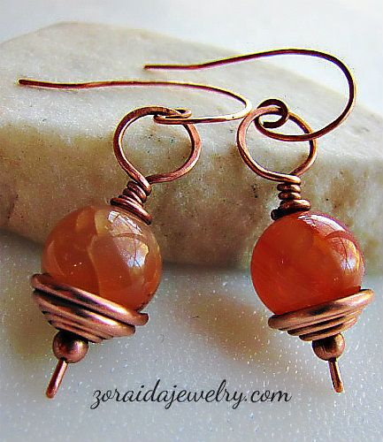 Fire Agate and Copper Earrings