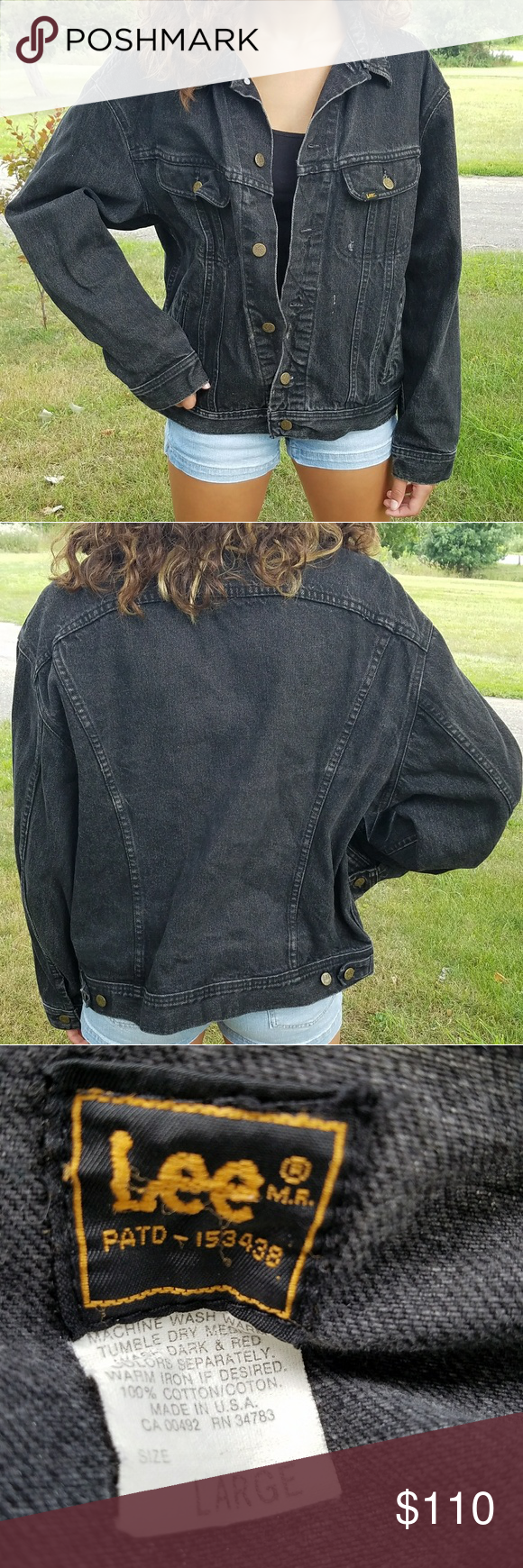 9c0520e9727 Vintage Lee Jean Jacket Unisex black denim 100% cotton men s size large