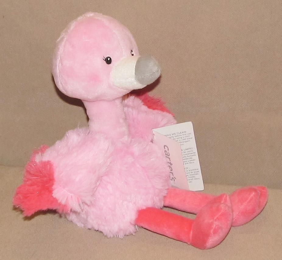 Baby with toys images  Carters Pink Gray Flamingo Bird Baby Plush Stuffed Toy