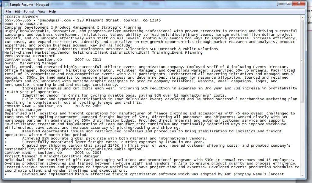 Inspiring Plain Text Resume Template Ideas di 2020