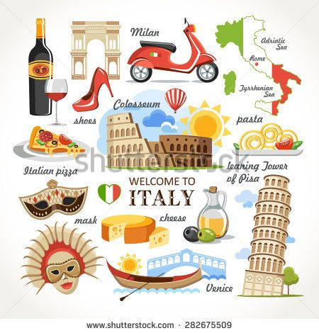 Welcome To Italy Symbols Set Stock Vector Pinterest