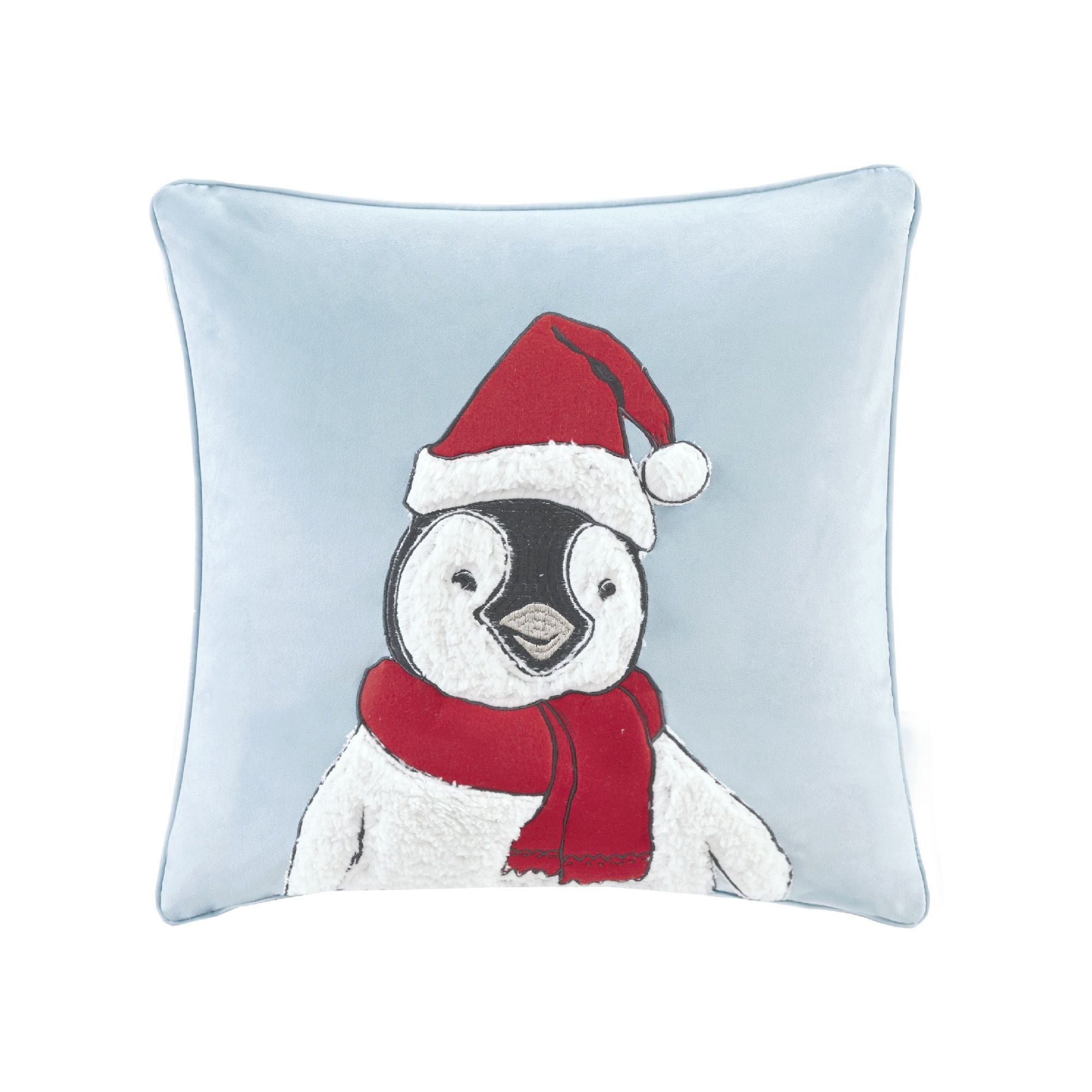 Madison Park Fluff The Holiday Penguin Blue 20-inch Square Embroidered Decorative Throw Pillow