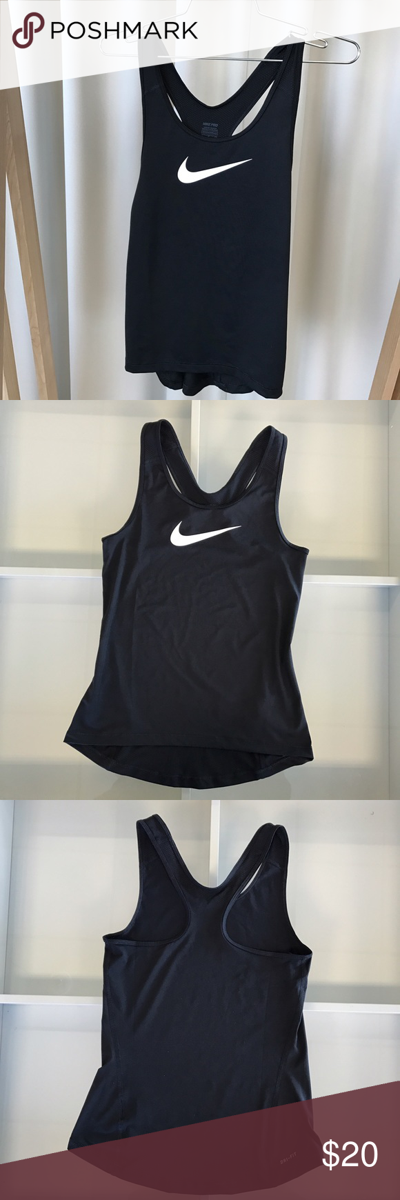 Nike Dri-Fit Tank Top This is a comfortable and form fitting black Nike training tank top, with Dri-fit technology. Worn a couple of times and in great condition.       Feel free to ask questions! Nike Tops Tank Tops