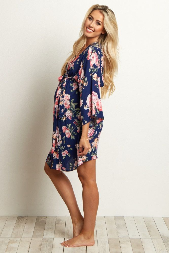 f968803ed9ede Navy Blue Floral Delivery/Nursing Maternity Robe. Find this Pin and more ...